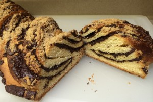 Slice of Chocolate Babka Bread