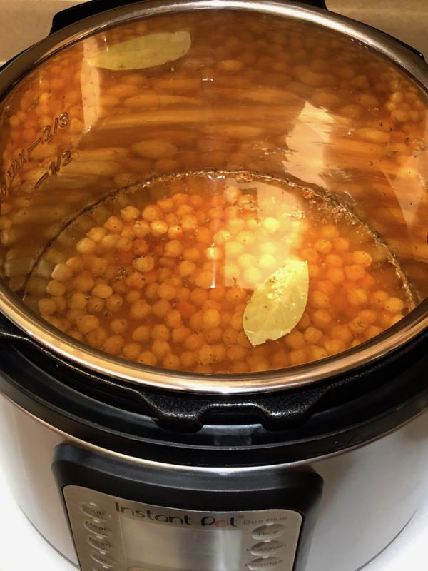 Cooking Garbanzo Beans in Instant Pot with water.