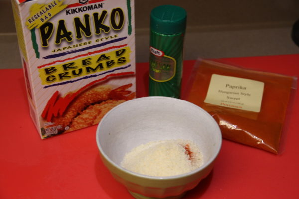 Breading ingredients mixed in a small bowl.