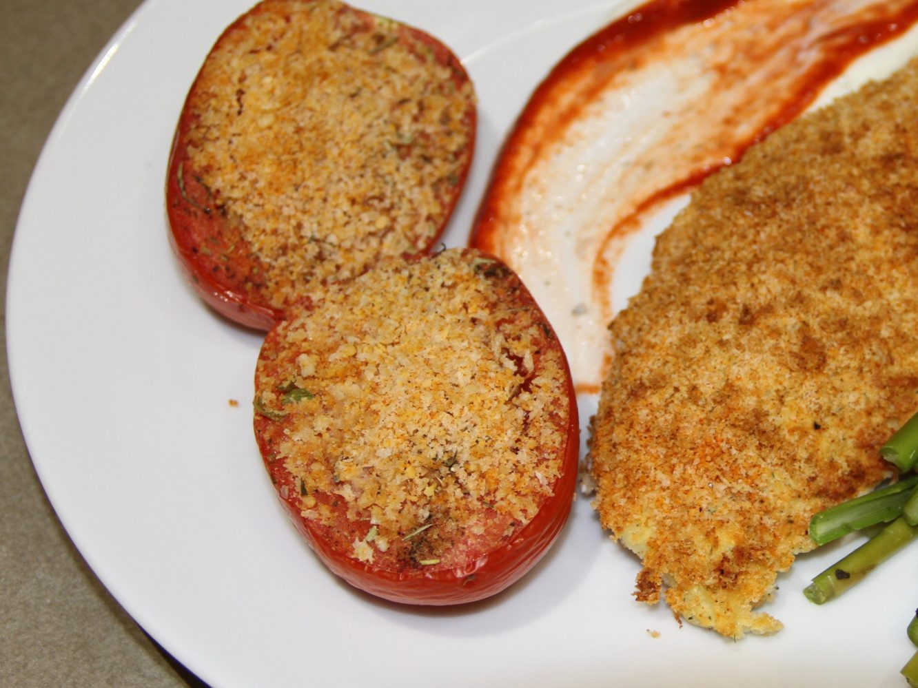 Plated Baked Tomatoes that was cooked in Air Fryer