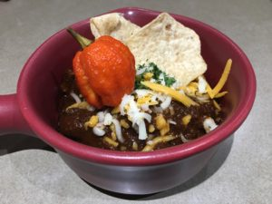 Texas Chili Chef Dave Style presentation in a bowl