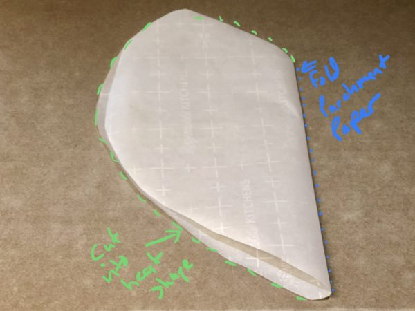 Cut 24 inch piece of parchment paper. Then fold in half and cut into heart shape.