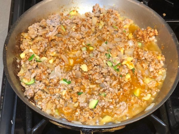 Cooked Turkey Taco Meat Filling in skillet
