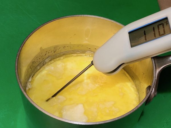 Scalded milk with butter and shortening cooled to 110°F