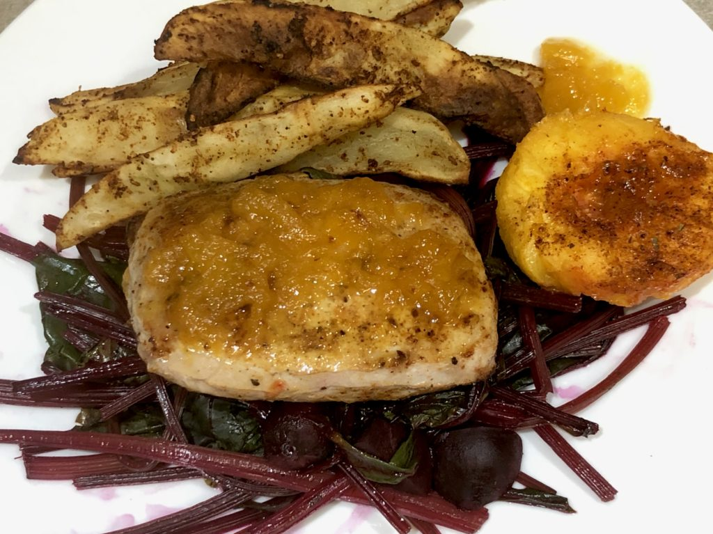 Plated Air Fryer Peach Pork Chops