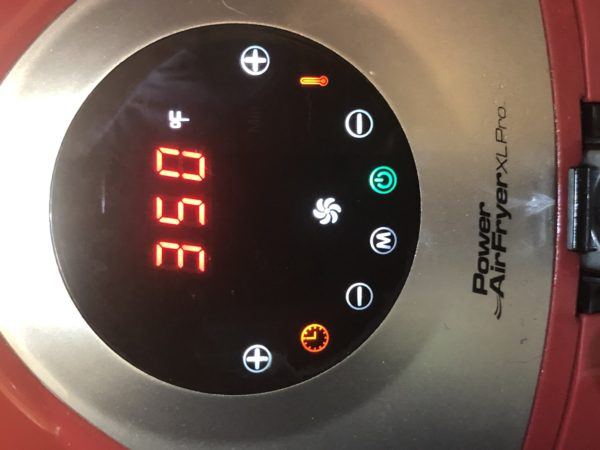 Air Fryer temperature set to 350 degrees
